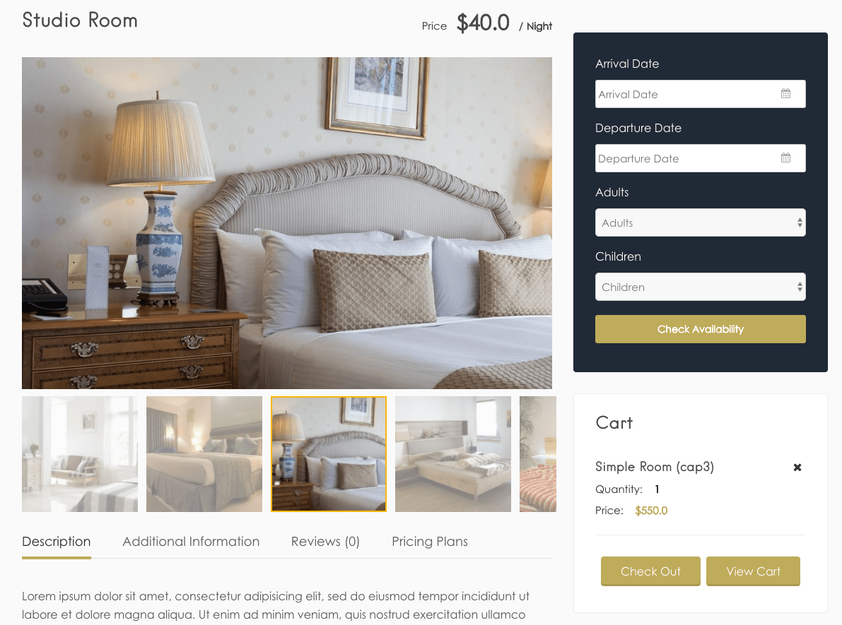 Room Booking With Elementor Website