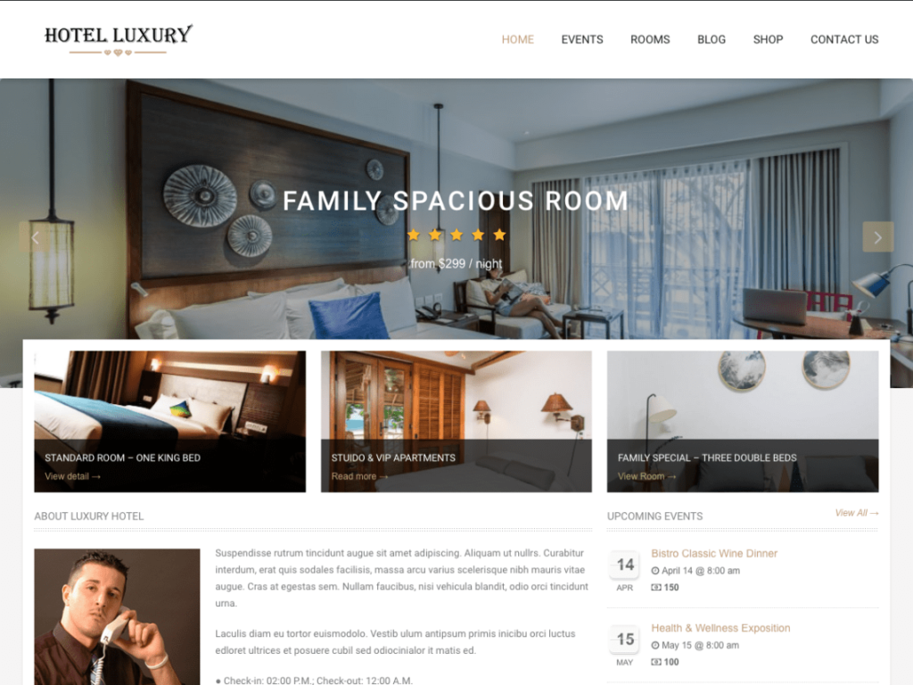 Free WordPress themes Hotel